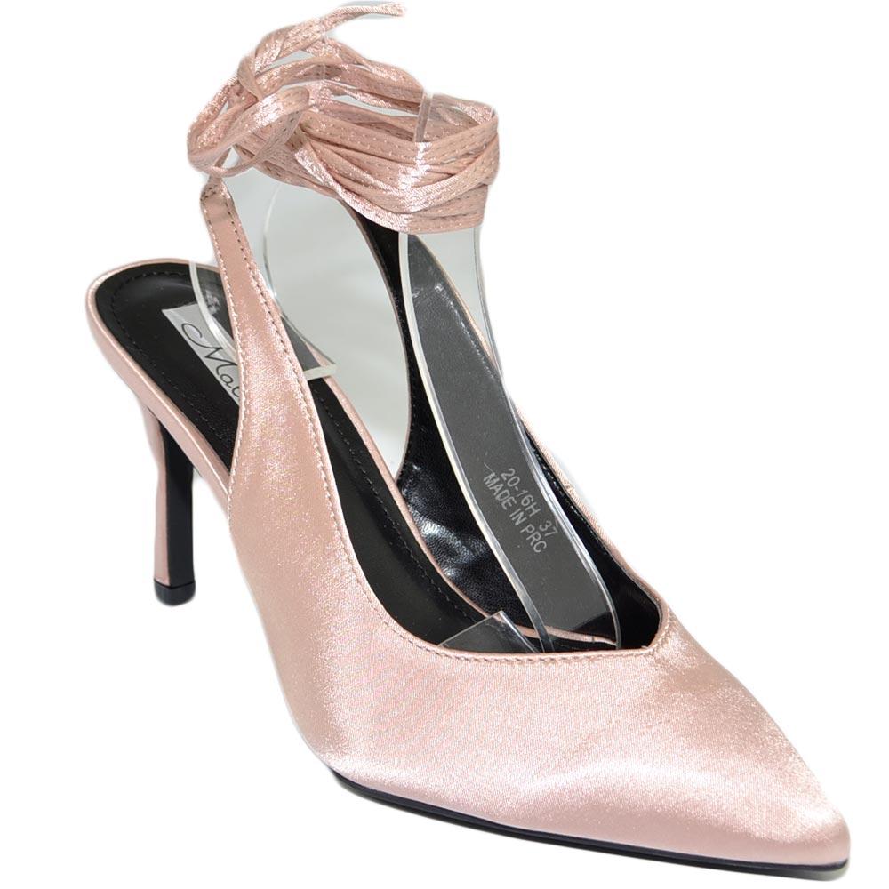 Decollete' sandalo donna rosa cipolla punta raso tallone ...