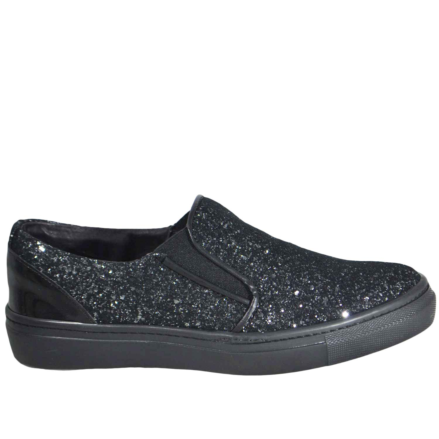 Mocassino Glitter Punta slip on mocassino donna  in vera pelle made in italy risvoltabili fondo running .