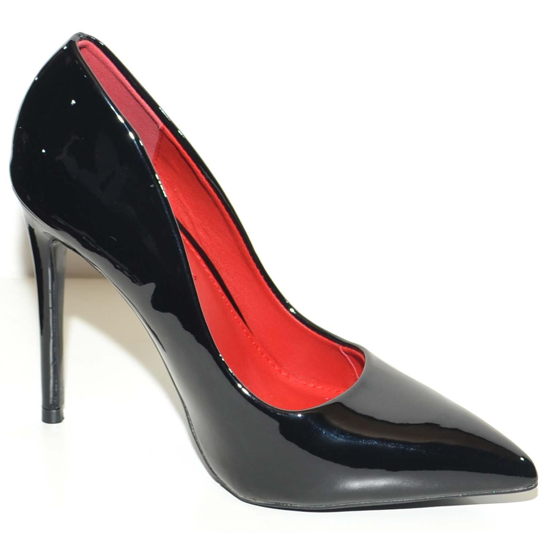 Decollete donna nero linea basic in vernice nero tacco a spillo 12 cm  elegante interno rosso 1db19a9d029