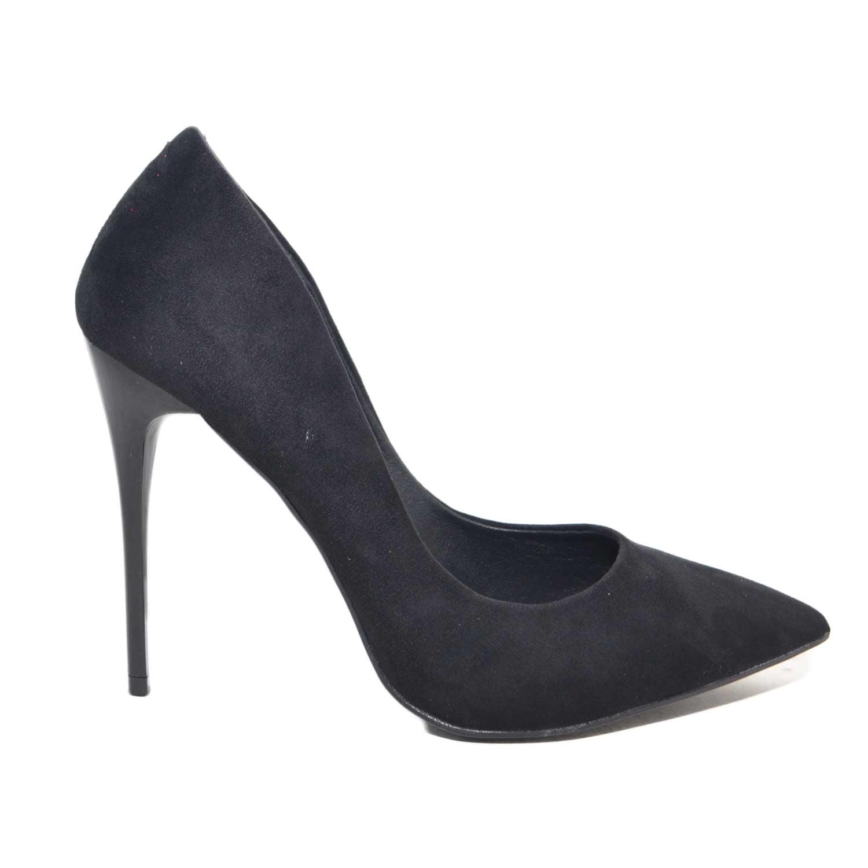 scarpe donna decollete scamosciato nero con scollo rotondo poco plateau  tacco a spillo laccato moda glamour 14456f47c5a