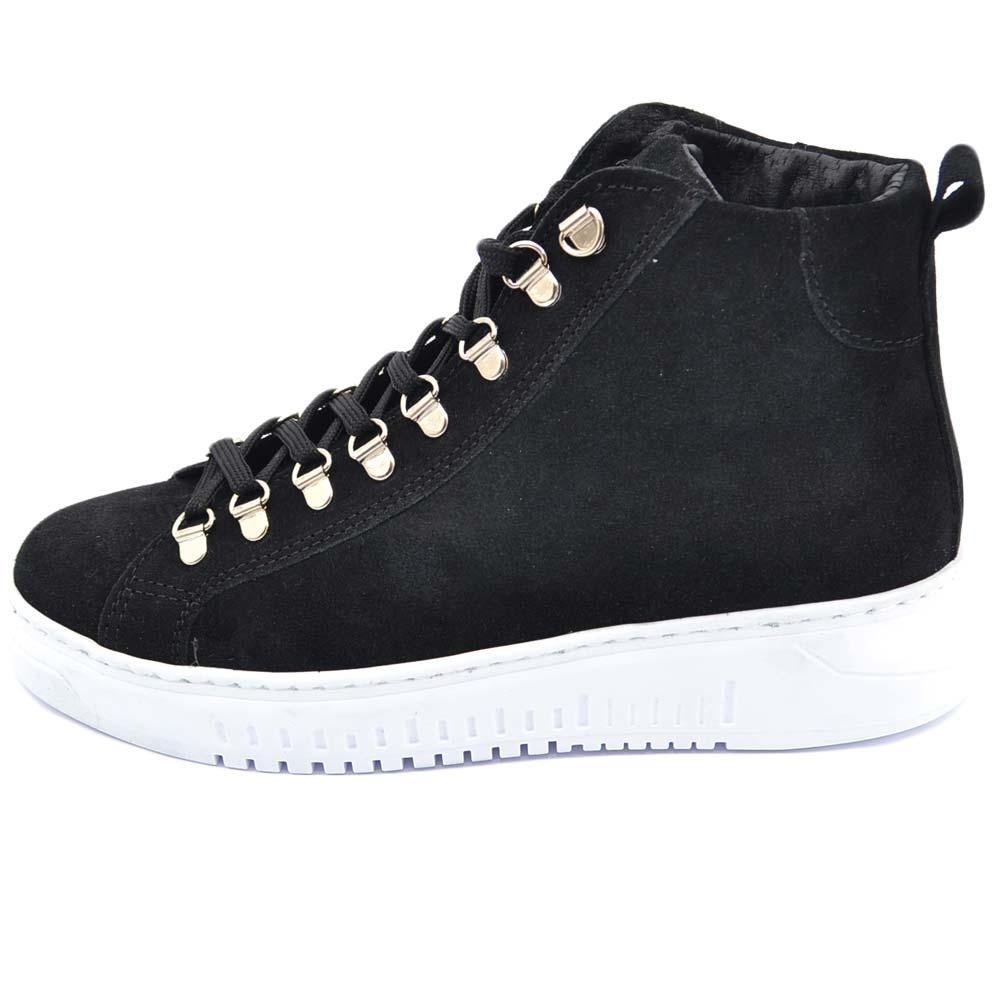 e8767abe57 Sneakers uomo alta nera in vera pelle scamosciata con ganci in acciaio clip  estivo fondo army bianco made in italy uomo sneakers alta Malu Shoes   ...