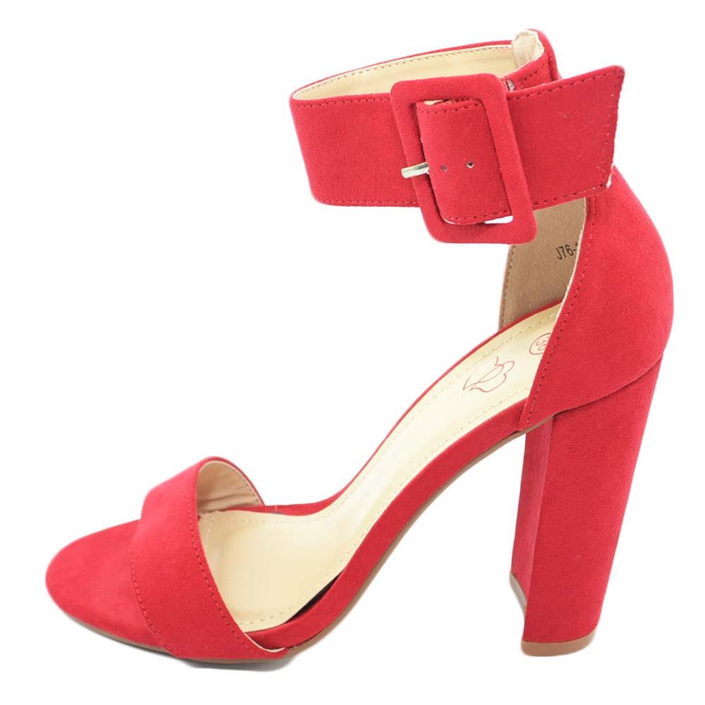 Rosso Donna Con Sandalo Cinturino Caviglia E Alla Largo Vivo Tacco wv80PmNnyO
