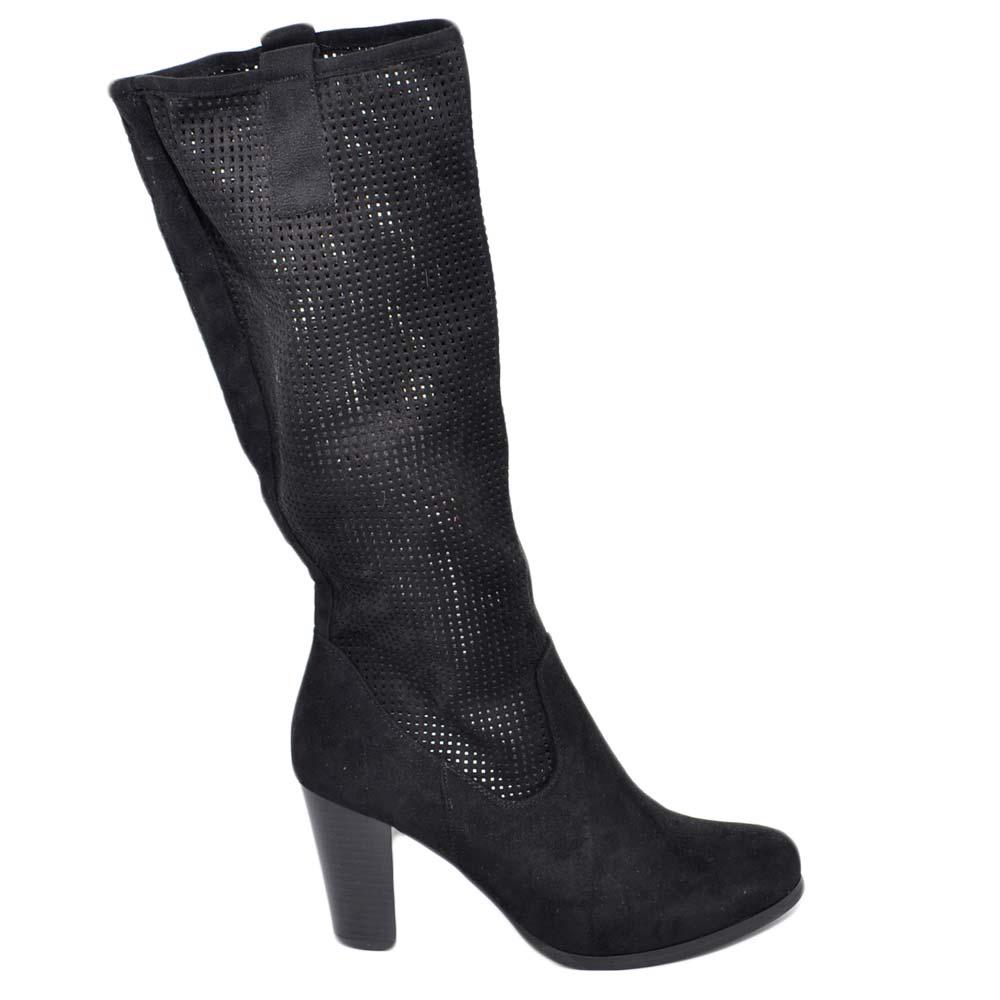 Stivali donna neri con plateau estivi gambale traforato
