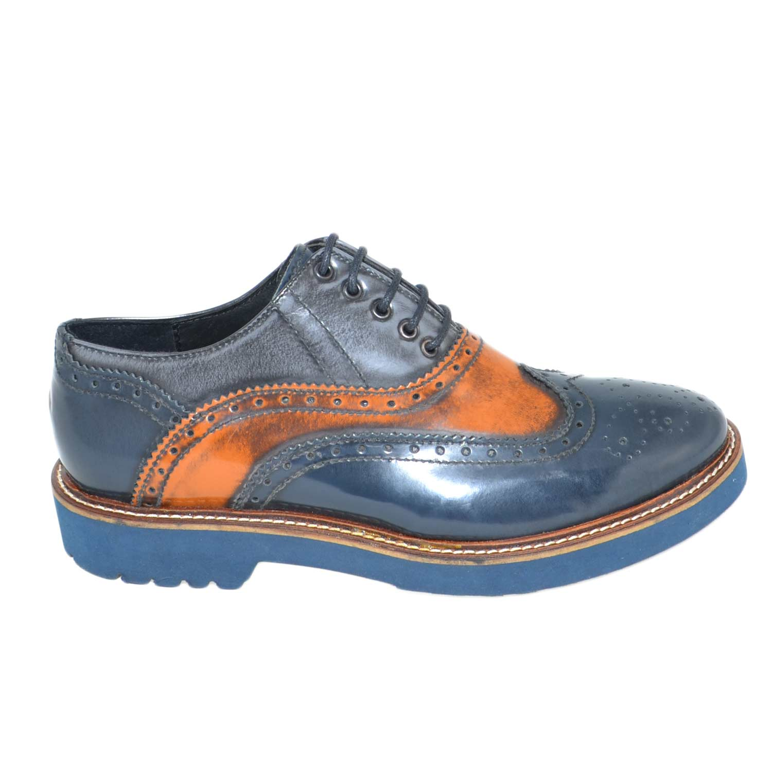 Calzature donna art.fr107 stringate bicolore blu ed arancione f.do micro ultraleggero .