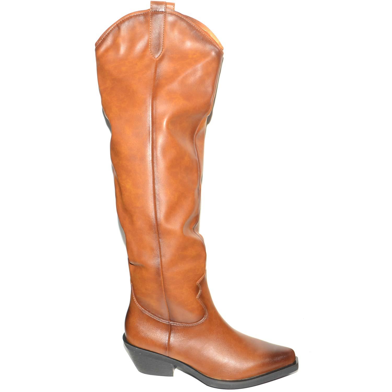 in vendita db77d 975cc Camperos alti da donna cuoio fino al ginocchio a punta stile ...