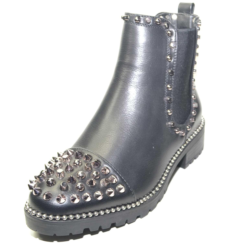 ineguagliabile in vendita moda più desiderabile STIVALETTO BASSO DONNA, PUNTA CON BORCHIE ARGENTO FONDO ANTISCIVOLO E  TESSUTO IMPREZIOSITO DA BORCHIE LATERALI donna stivaletti Malu Shoes |  MaluShoes