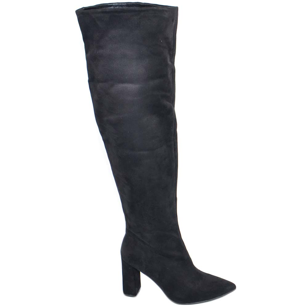 Stivali donna scamosciati altezza ginocchio con tacco basso comodo zip