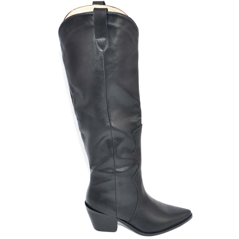 Stivali texani texani donna neri rigidi al ginocchio tacco basso comodi lisci con scollo a V moda camperos donna stivali Malu Shoes | MaluShoes
