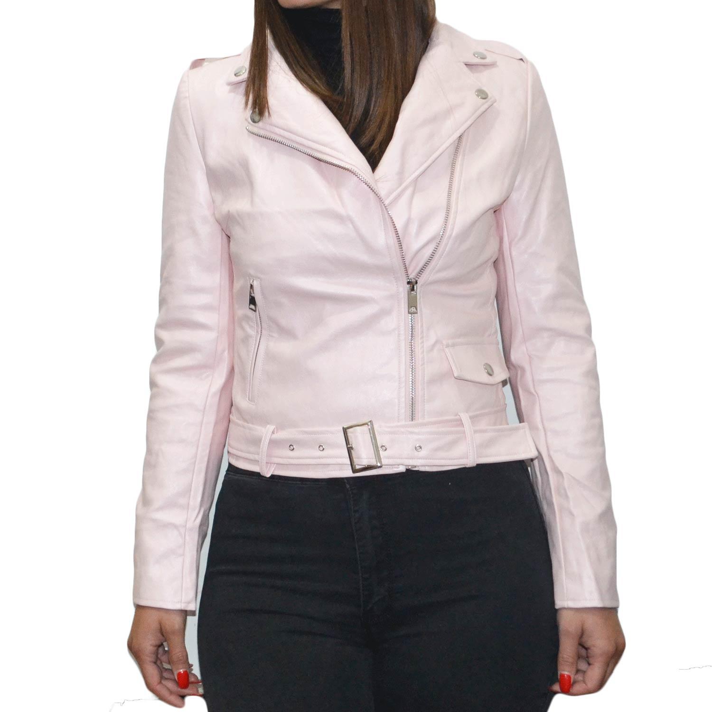 timeless design cd755 a44df Chiodo giubbino di pelle rosa slim fit avvitato corto moda trend donna  chiodo pelle DCL | MaluShoes