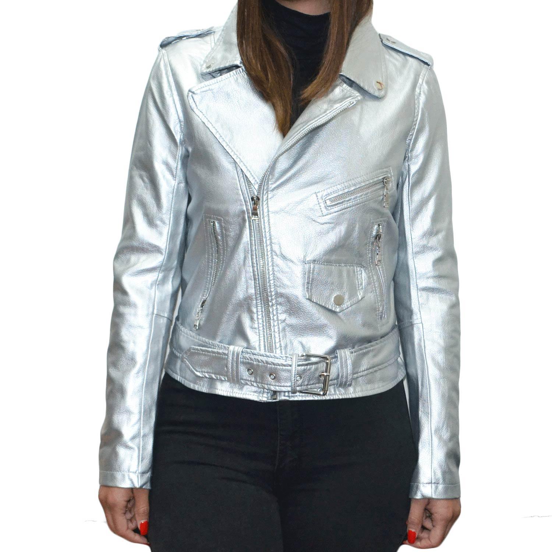 best sneakers 416d1 55762 Chiodo giubbino di pelle argento silver opaco slim fit avvitato corto moda  trend donna chiodo pelle Crystal | MaluShoes