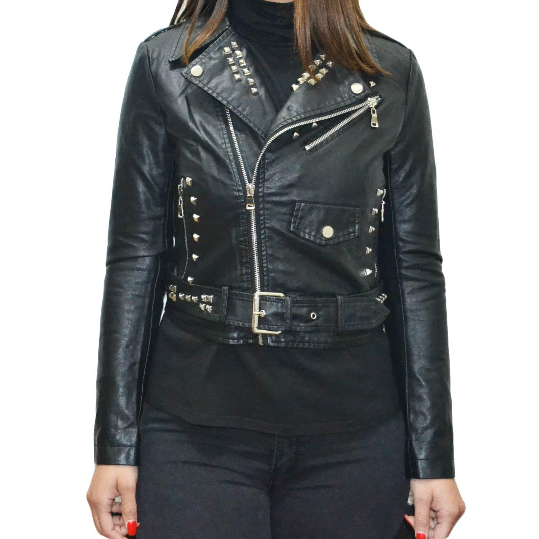 giacca di pelle a chiodo borchie nere
