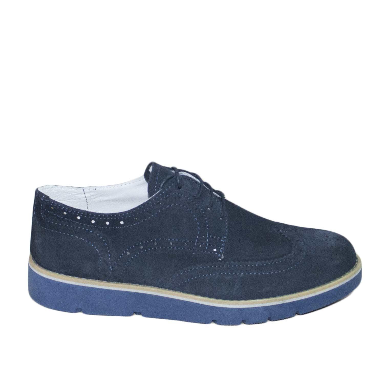 classcic bene comprare in vendita Scarpe uomo camoscio blu microforato stringhe fondo blu genuine leather  uomo stringate Malu Shoes | MaluShoes
