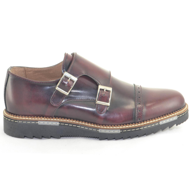 scarpe uomo classico sportivo doppia fibbia vera pelle bordeaux made in italy moda elegante giovanile uomo doppia fibbia made in italy | MaluShoes