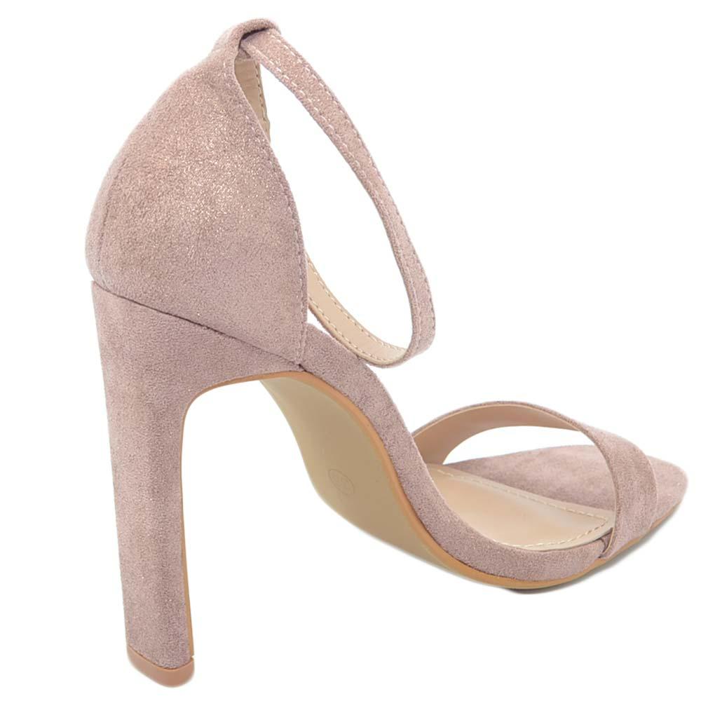 675e869a1e Sandalo donna camoscio rosa cipria glitter tacco a spillo spesso ...