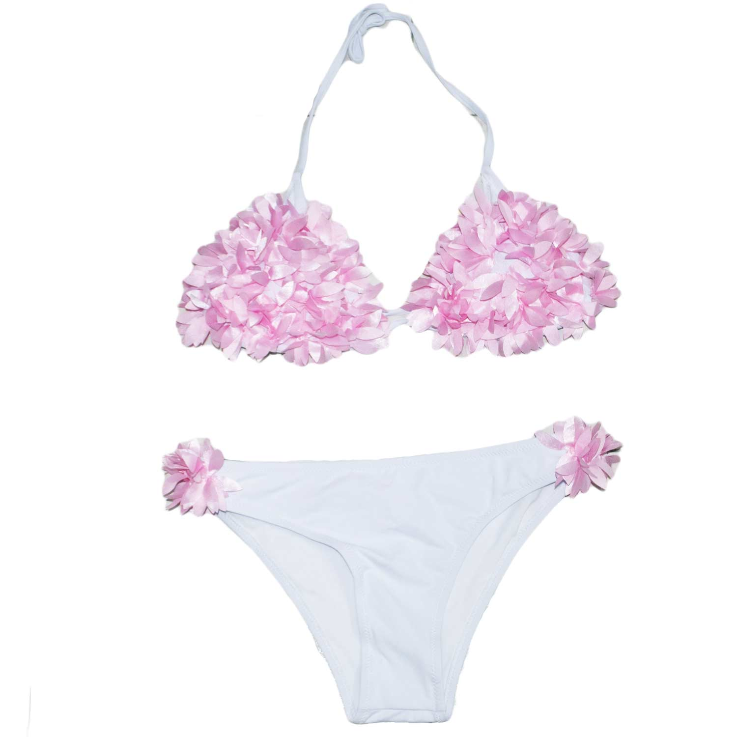 Costume accessori donna art:es2459 estivo summer fantasia bianco applicazioni floreali rosa made in italy.