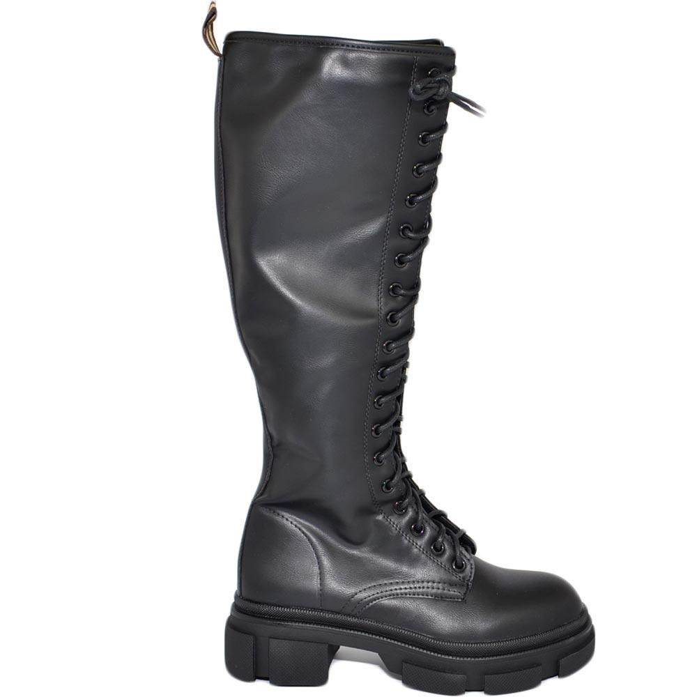 Stivali anfibi donna platform fondo alto modello chiara con zip altezza ginocchio moda street lacci lunghi regolabili donna anfibi Malu Shoes |