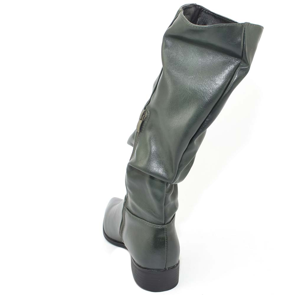 Stivali texano donna basso colorato verde petrolio