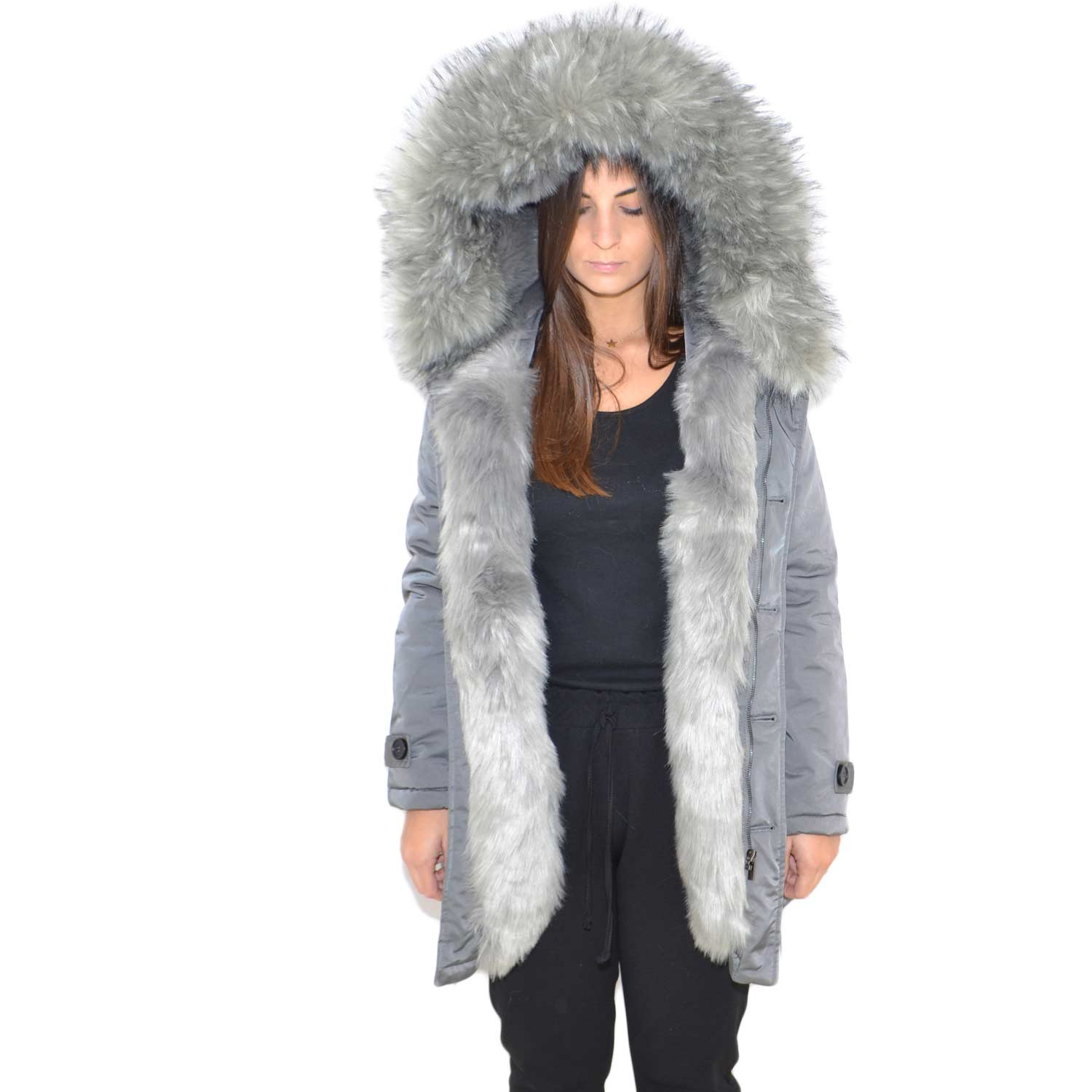 best loved 0d760 70090 Parka giacca donna invernale impermeabile grigio donna con pelliccia  voluminosa ecologica grigio glamour ecofur parka donna parka k-zell |  MaluShoes