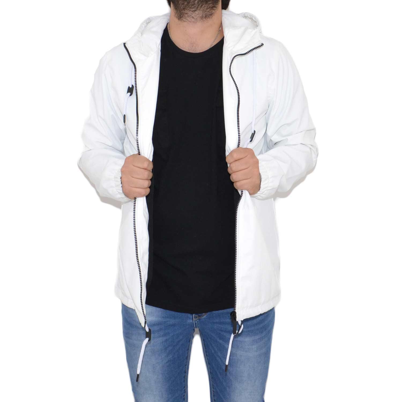 generazione Strofinare memore  Bomber in tessuto di cotone. Giubbino bianco estivo Cerniera davanti, tasca  cappuccio Sfoderato. uomo giubbini Acy | MaluShoes