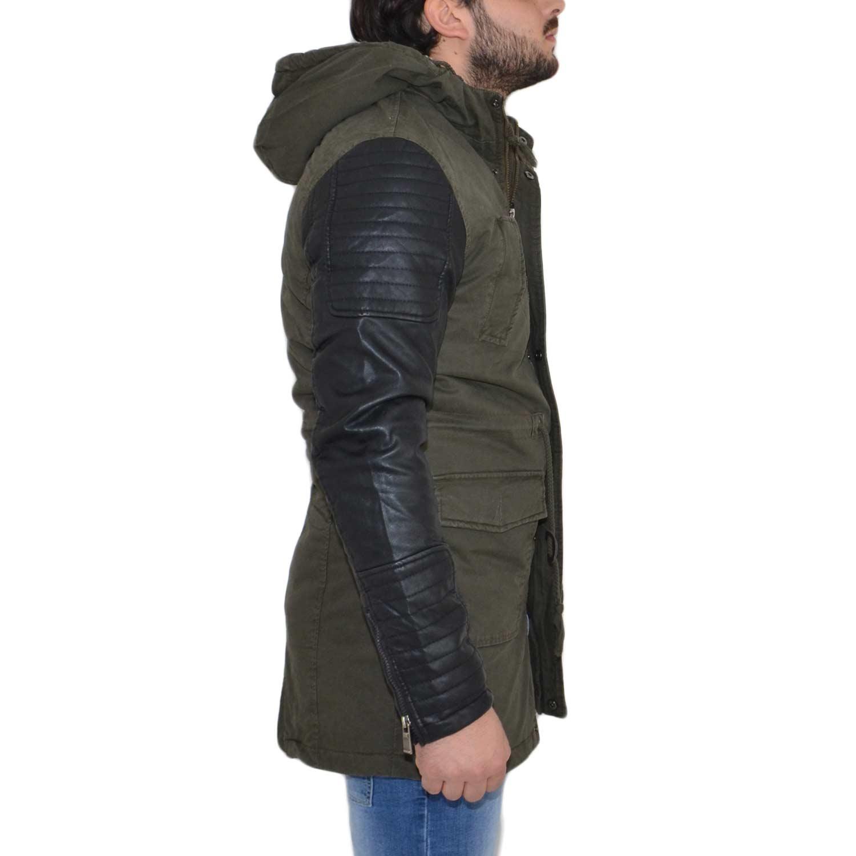newest collection 7589d b0077 Giubbotto uomo verde militare casual giacca inverno parka con maniche di  ecopelle lungo con tasche moda art9006 uomo parka Acy | MaluShoes