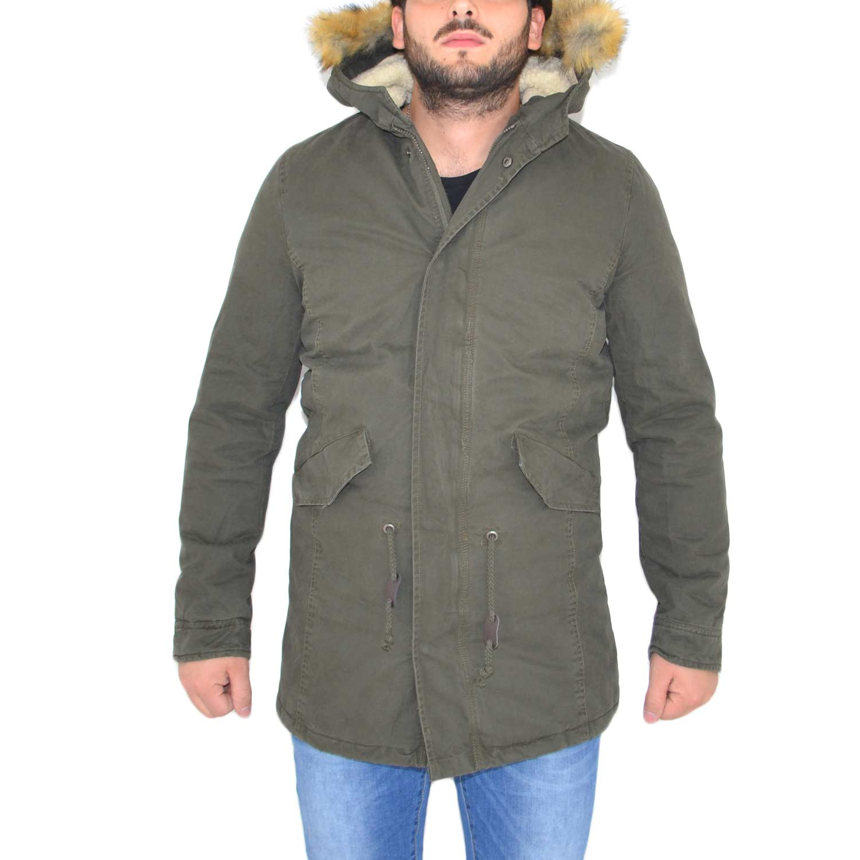 low priced 57c12 b0843 New Parka Uomo Verde con pelliccia bianca uomo parka Made In ...