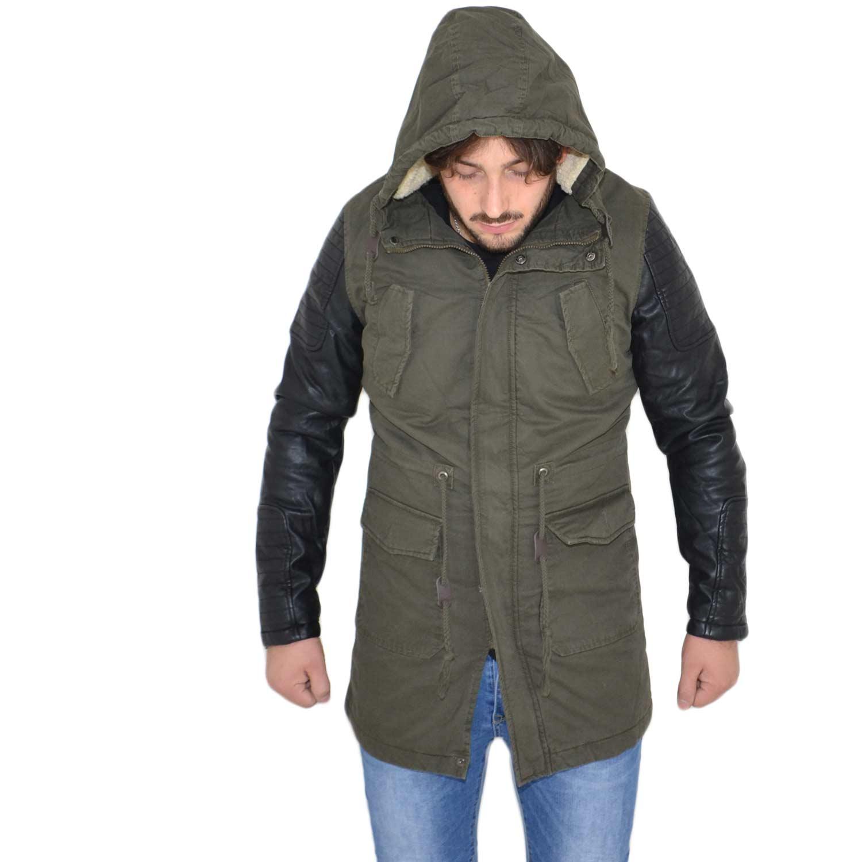 newest collection 1840c fd05d Giubbotto uomo verde militare casual giacca inverno parka con maniche di  ecopelle lungo con tasche moda art9006 uomo parka Acy | MaluShoes