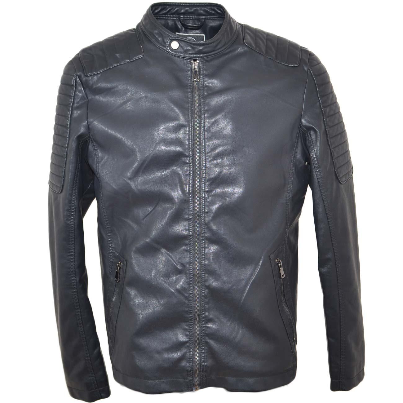 timeless design f4641 2dfa9 Giubbino giacca uomo in simil pelle con imbottitura e doppia zip frontale  spalle rinforzate interno in pelliccia caldo uomo giubbini in pelle Malu ...
