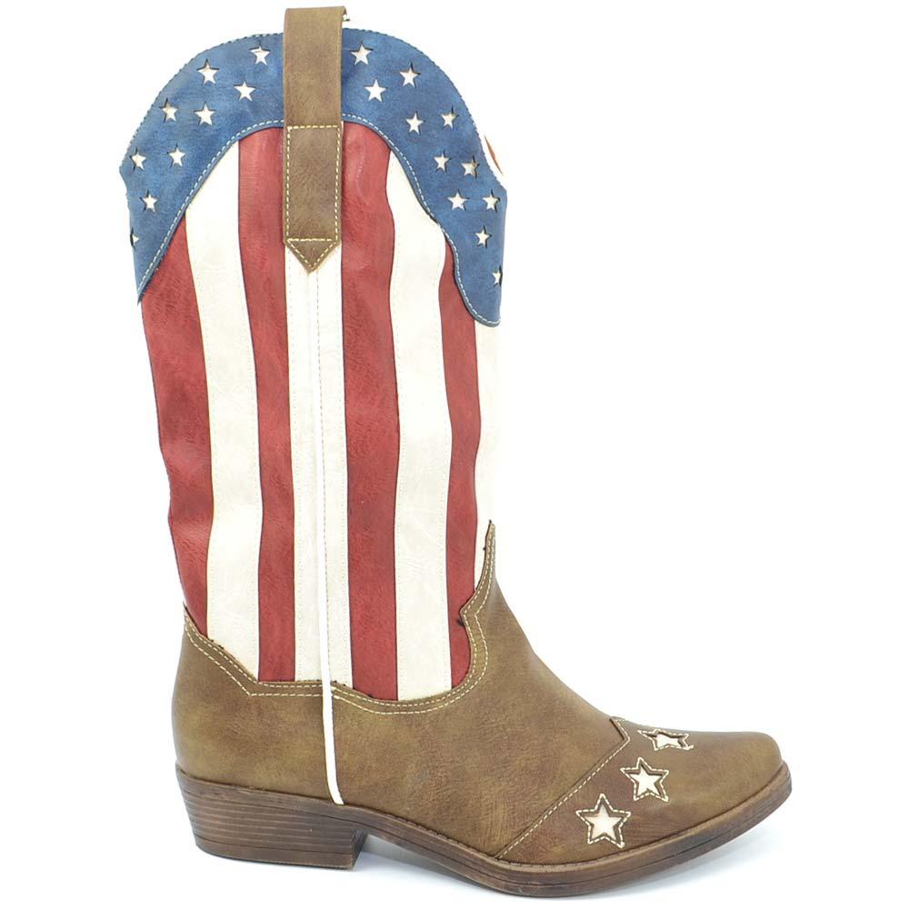 Stivali donna camperos texani stile western marroni con