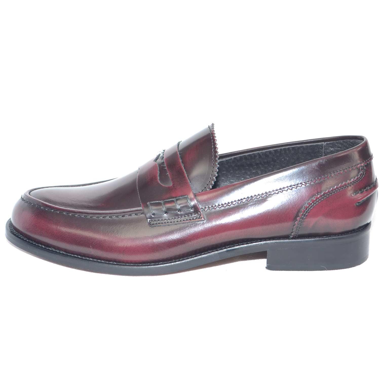 scarpe uomo mocassino college bendina fondo cuoio pelle abrasivato bordeaux  spazzolato. Passa il mouse sopra per eseguire zoom f8fb97bacc3
