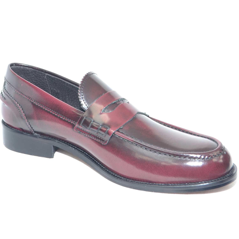 scarpe uomo mocassino college bendina fondo cuoio pelle abrasivato bordeaux  spazzolato 6795cd3d650