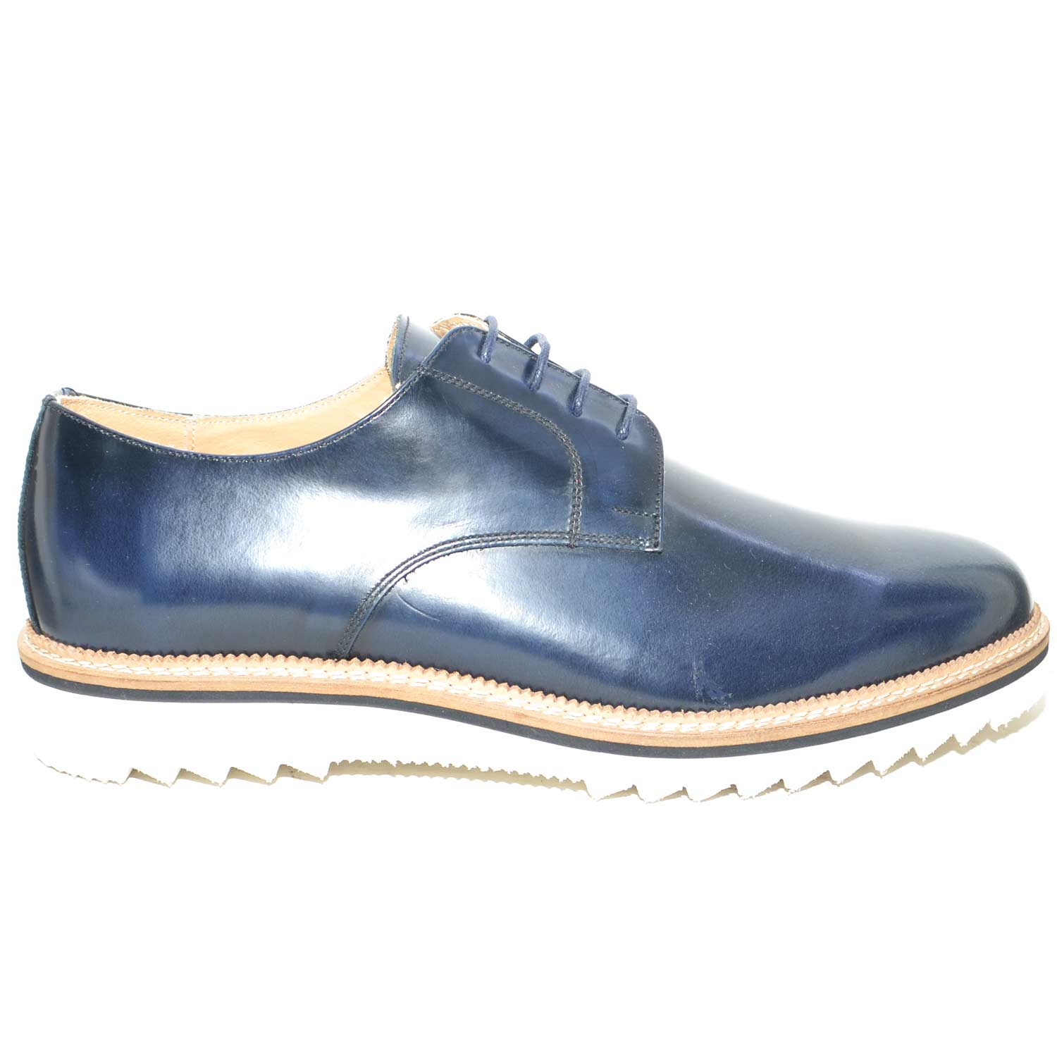 Scarpe stringate blu abrasivato art 4567 ultraleggero fondo light .