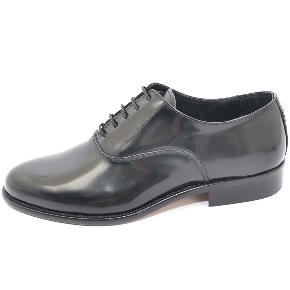Scarpe uomo francesina nera pelle lucida fondo cuoio antiscivolo nero stringhe genuine leather uomo classiche Malu Shoes   MaluShoes