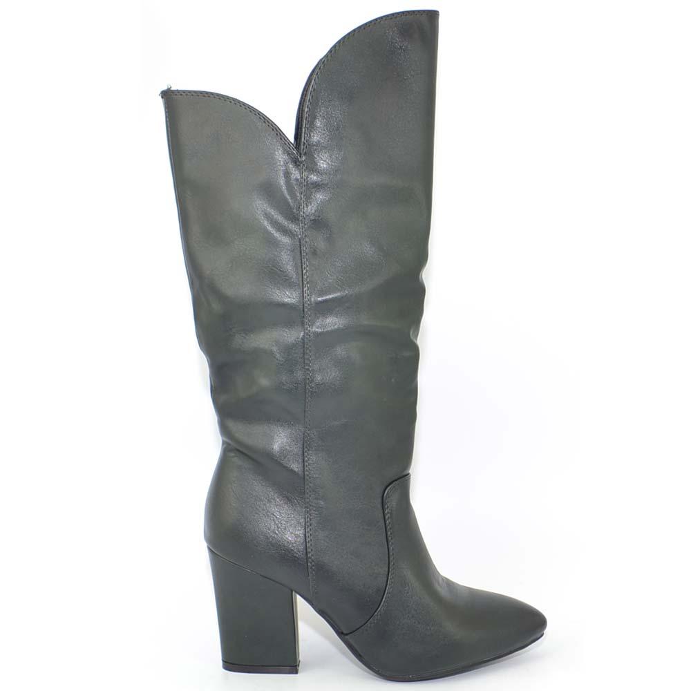 aa5349b279 Stivali texani donna colorati verde petrolio collo asimmetrico tacco largo  altezza ginocchio moda coachella con zip glam donna stivali Malu Shoes | ...