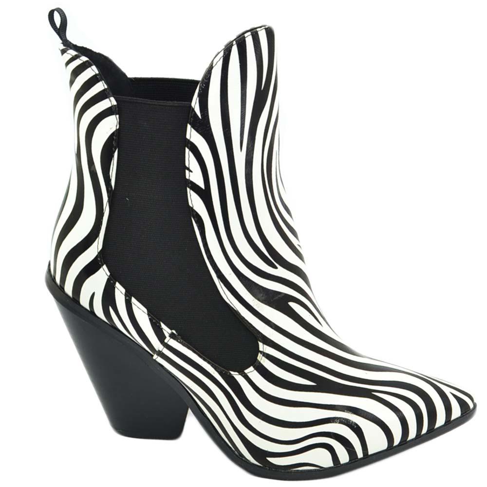 Tronchetto donna camperos a punta zebrato in vinile tacco cono texano linea basic moda western glamour elastico donna tronchetti Malu Shoes  