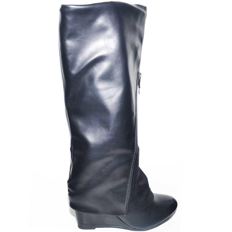 prezzo competitivo 9c84e 8a31a Stivali donna nero con zeppa interna altezza sotto ginocchio con zip  centrale donna stivali MALU SHOES | MaluShoes