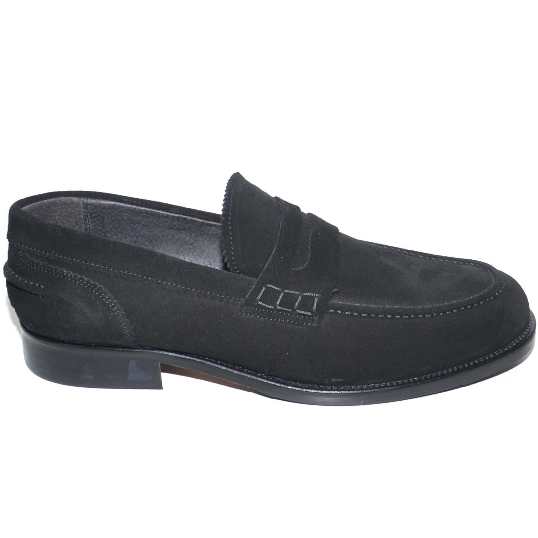 Scarpe uomo mocassini inglese college vera pelle scamosciata nero made in  italy fondo cuoio genuine leather e86d6208a2e