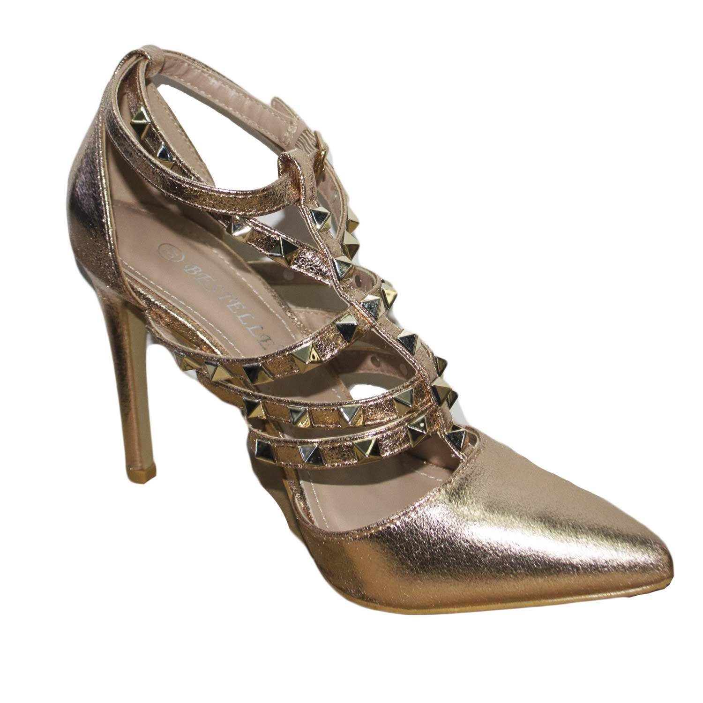 Ideal Shoes , Sandali donna, giallo (champagne), 38 EU