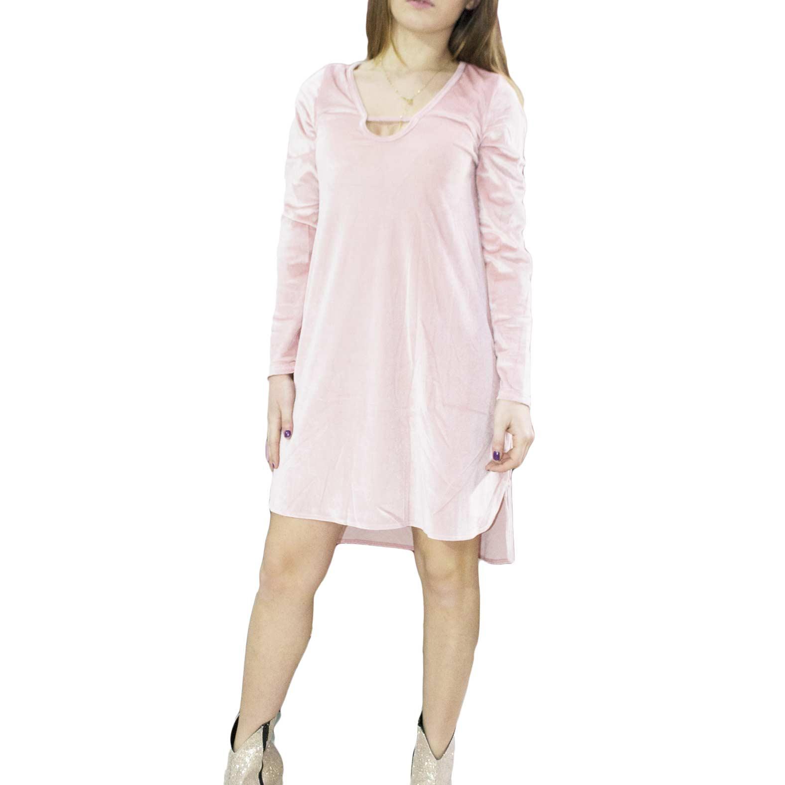 info for 10c36 23daf Abito in ciniglia rosa lunghezza asimettrico scollo davanti elegante pretty  moda donna abiti osley   MaluShoes