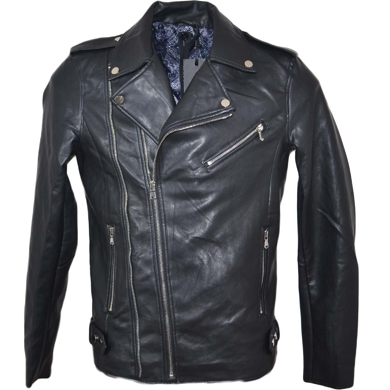 newest 6ac5a 0a511 Chiodo giacca uomo di pelle ecologica nero con ganci argento vestibilita'  slim moda basic trend uomo giubbini in pelle Malu Shoes | MaluShoes