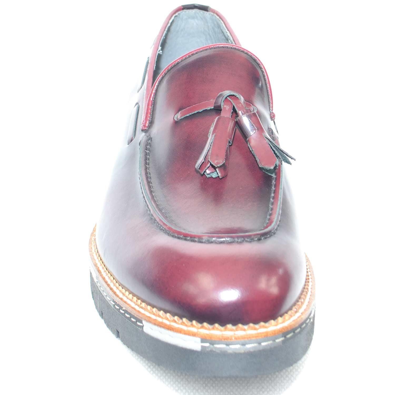 Scarpe uomo mocassino vera pelle abrasivato bordeaux moda classico sportivo  made in italy 8410434c64e