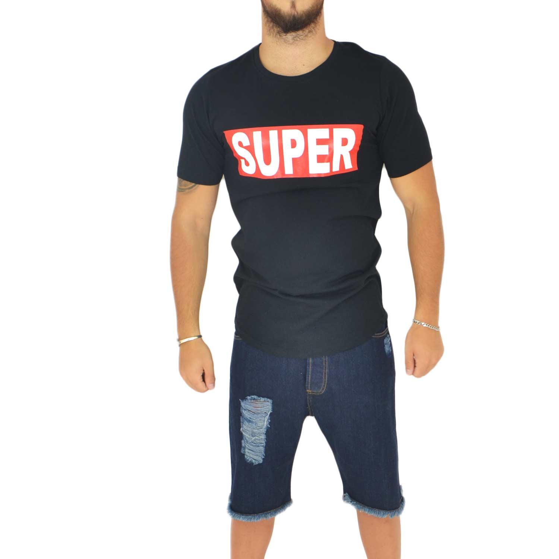 hot sale online 5bcee 3dec4 T-shirt minimale a girocollo tinta unita nera con stampa '' SUPER
