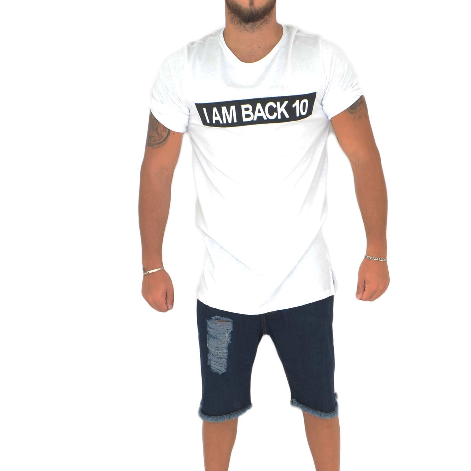 T- shirt basic uomo in cotone bianco slim fit girocollo con cucitura a contrasto I'M BACK 10 made in italy.