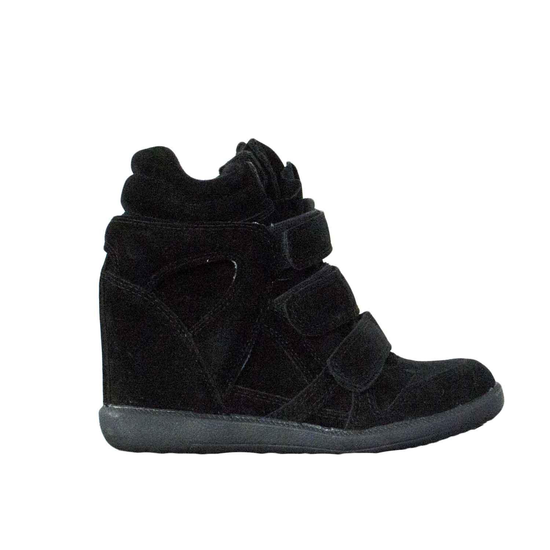 Moda Zeppa Nero Camoscio Con Scarpe Strappo Donna Alta Sneakers qPUTxw8S4 4f7ec877204