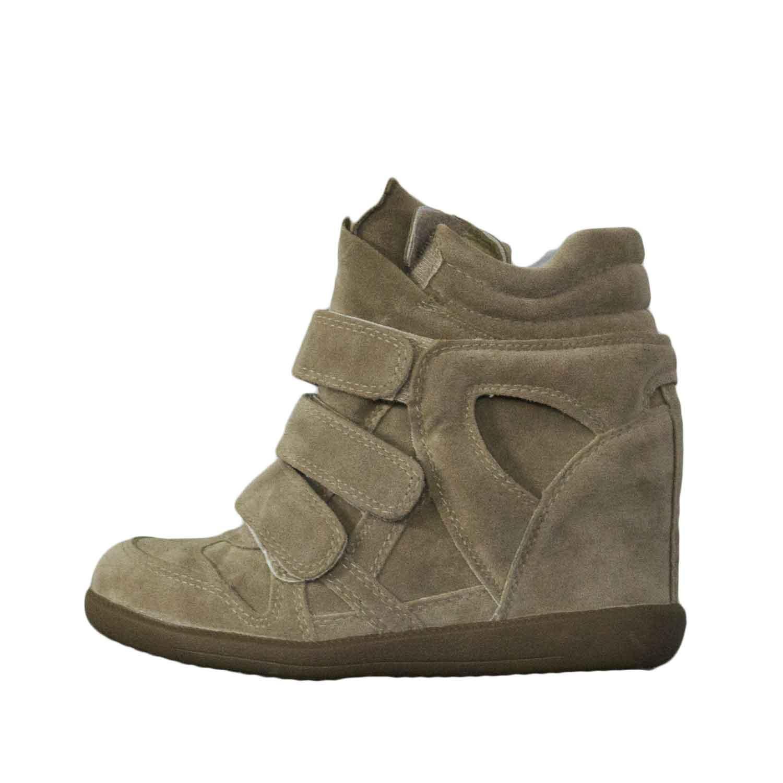 Scarpe donna sneakers alta con zeppa strappo camoscio beige moda ... 0037b18c0a7
