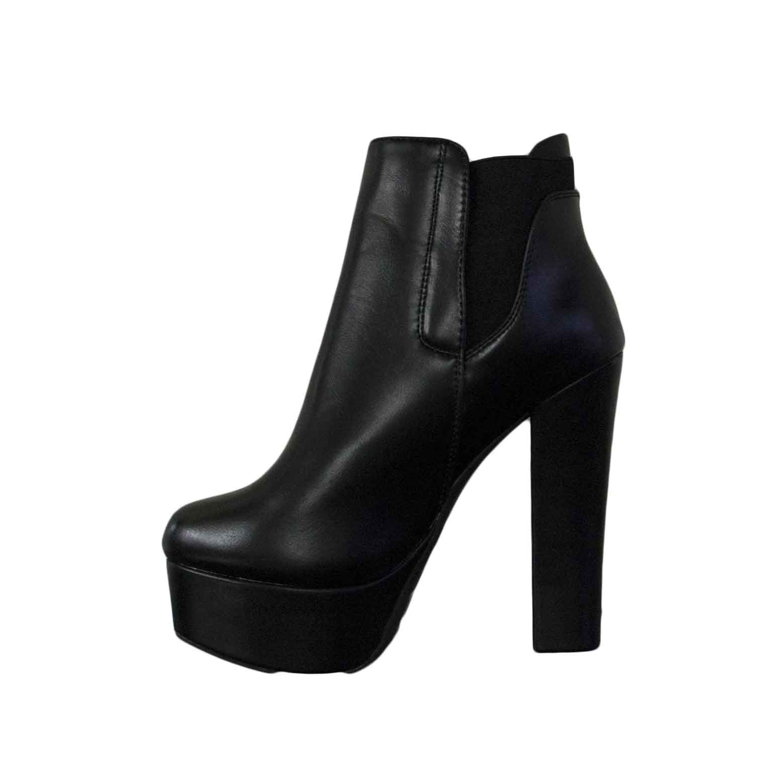 5ad68100a858d6 Scarpe donna tronchetto nero ecopelle elastico tacco alto comfort donna  tronchetti Malu Shoes | MaluShoes