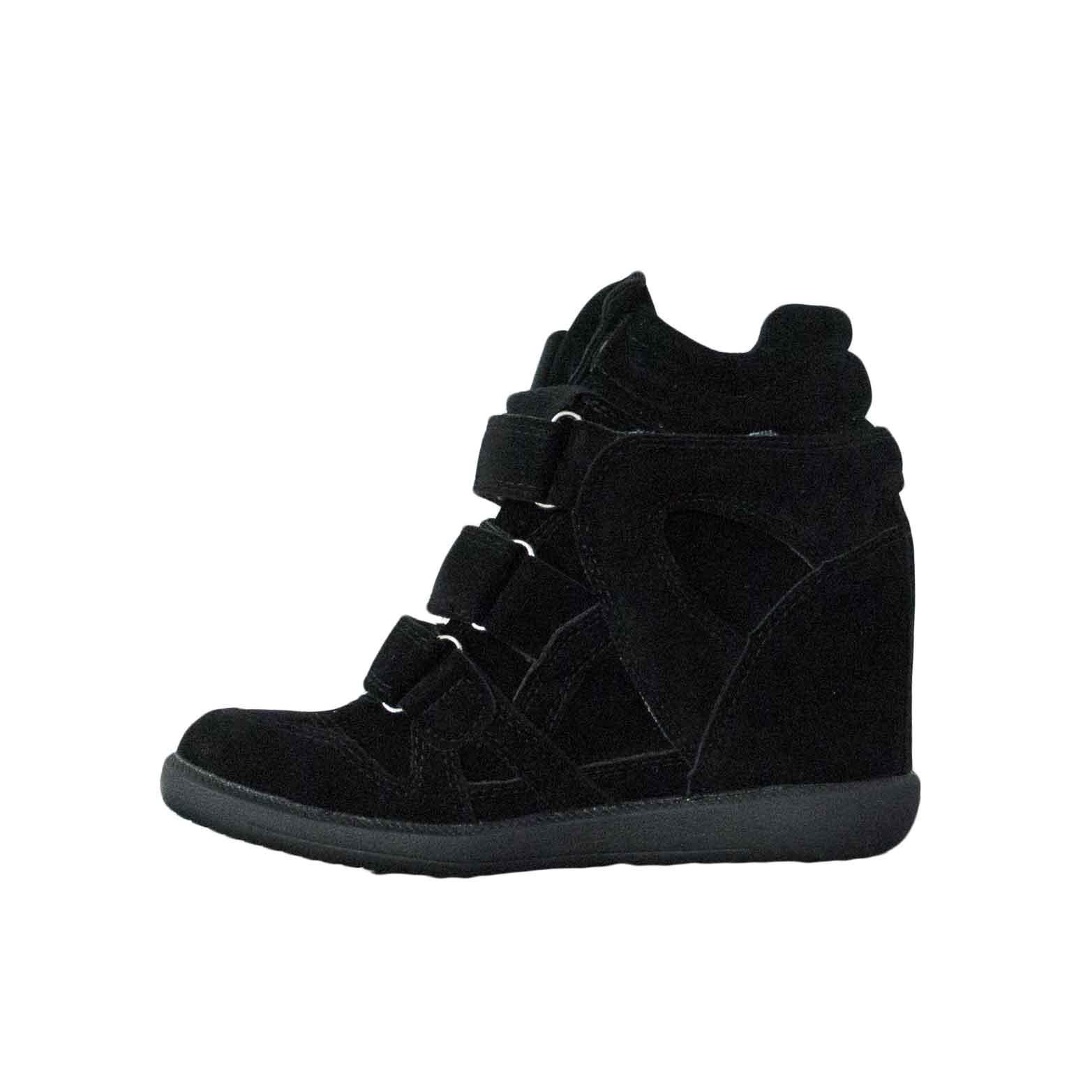 c9578af2b6a93 Scarpe donna sneakers alta con zeppa strappo camoscio nero moda donna  sneakers alta Malu Shoes