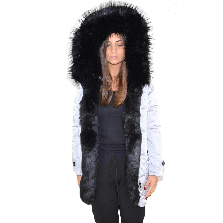 new style c5a79 cbd1f Parka giacca donna invernale impermeabile perla con pelliccia voluminosa  ecologica NERA glamour ecofur parka donna parka k-zell | MaluShoes