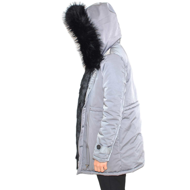 outlet store fda09 145c2 Parka impermeabile grigio donna con pelliccia voluminosa ecologica nera  glamour ecofur parka donna parka k-zell | MaluShoes