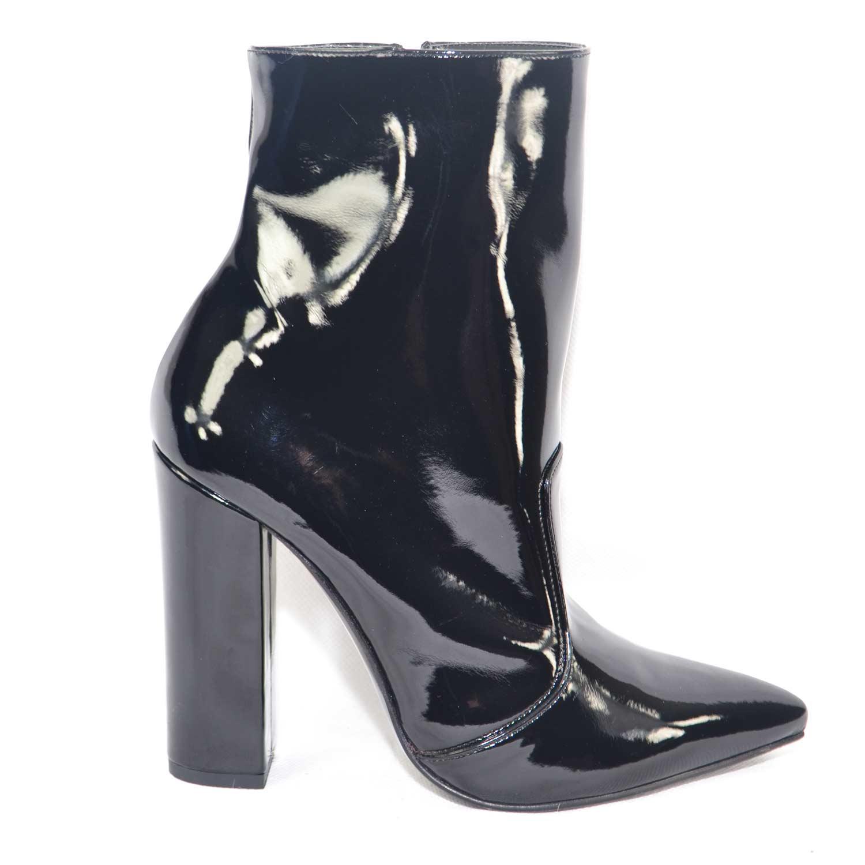 Scarpe donna tronchetto punta vernice nero made in italy tacco largo  glamour moda 3146f626844
