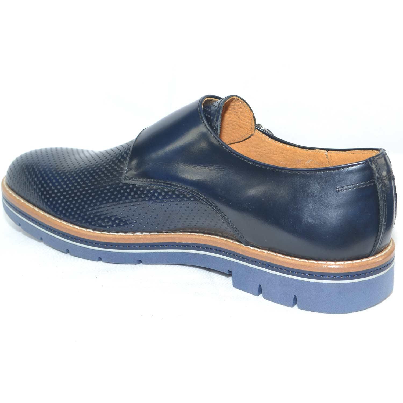 scarpe uomo doppia fibbia vera pelle abrasivato forato blu made in italy fondo antiscivolo intersuola cuoio artigianale uomo doppia fibbia Malu Shoes